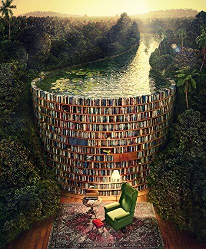 KUKUALE Bücherregal und Kanal Das Holzpuzzle 1000-teiliges Ersion-Puzzle Weiße Karte Lernspielzeug für Erwachsene 75 x 50 cm (27 x 19 Zoll)