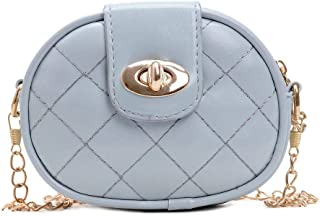 Crazy-store Lattice Shoulder Handbags PU Leather Women Kids Crossbody Bags for Adult Carry-on Ornaments and Collecting Light Blue