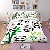 MUSOLEI Panda Double Bedding Set Girls,3D Animal Bed Sheets Double Bed Set Kids