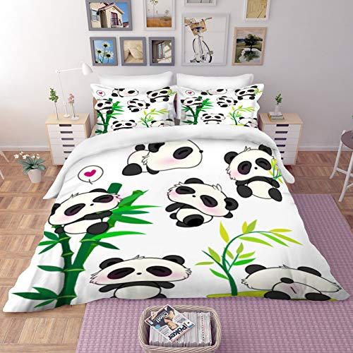 MUSOLEI Panda Double Bedding Set Girls,3D Animal Bed Sheets Double Bed Set Kids with 2 Pillow Case,Hidden Zipper,Lovely Quilt Cover,(Panda and Bamboo,Double)