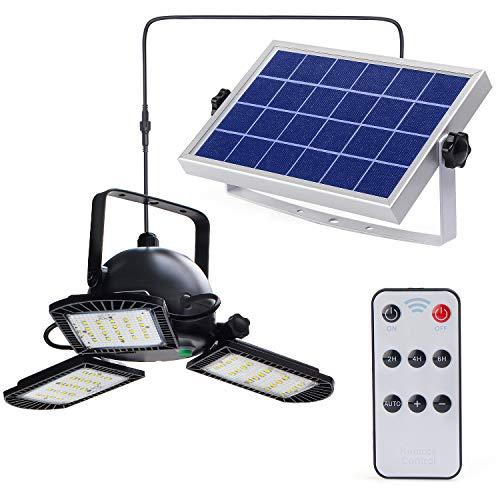 Kyson Solar Powered Garage Lights Indoor Outdoor with Remote Control, 60LED Deformable Ceiling Shop Working Light with 3 Adjustable Panels for Shed Garage Workshop Barn Warehouse Basement