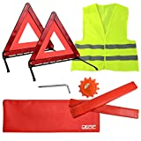 DEDC Kit de Emergencia Coche 2 Triángulo Reflectante Plegable de Emergencia 1 Luz Advertencia de Emergencia y 1 Chaleco Reflectante Kit de Señalización de Emergencia