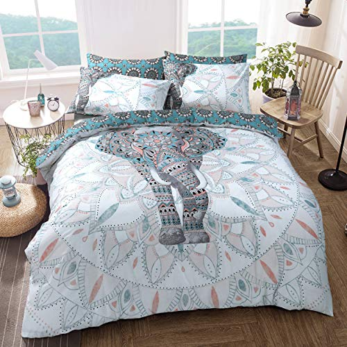 Sleepdown Elephant Mandala Teal Bed Reversable Quilt Duvet Cover Set Easy Care Anti-Allergic Soft & Smooth with Pillow Cases (Single)