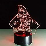 Hermosa Goldfish 3D Night Light LED Lámpara de ilusión óptica, 7 colores que cambian la lámpara de escritorio táctil para la decoración de la mesita de noche del dormitorio