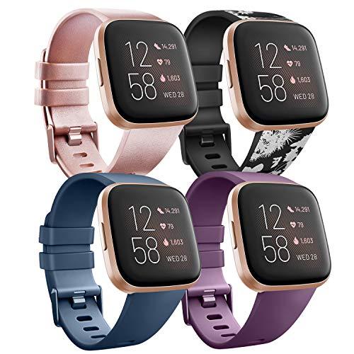 Wanme Kompatibel für Fitbit Versa Armband Fitbit Versa 2 Armband, TPU Silikon Sport Verstellbares Ersatzarmband für Fitbit Versa 2 und Fitbit Versa (02 Rose Gold+Gray Flower+Blue+Purple, Small)