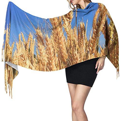 Nice-Guy Weizengras Gerste Herbsternte Natur Natürlicher Schal Frauen Fransen Schal Schals Leicht 77x27 Zoll