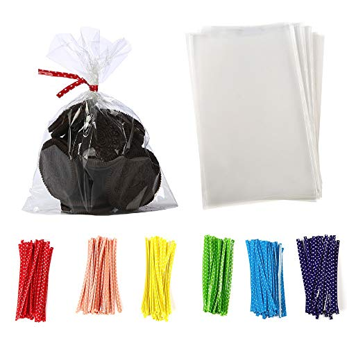 brdonsuper || 5 in x 7 in Clear Flat Cello Cellophane Treat Bags Good for Bakery,Popcorn,Cookies,Candies,Dessert 1.2mil.Give Metallic Twist Ties, 100 Pcs, Transparent