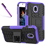 COTDINFORCA Case for J5 Pro Case, Tyre Pattern Design Heavy Duty Tough Protection Case with Kickstand Shock Absorbing Detachable 2 in 1 Case Cover for Samsung Galaxy J5 Pro 2017 J530. Hyun Purple