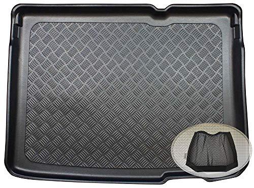 ZentimeX Z3335475 Geriffelte Kofferraumwanne fahrzeugspezifisch + Klett-Organizer (Laderaumwanne, Kofferraummatte)