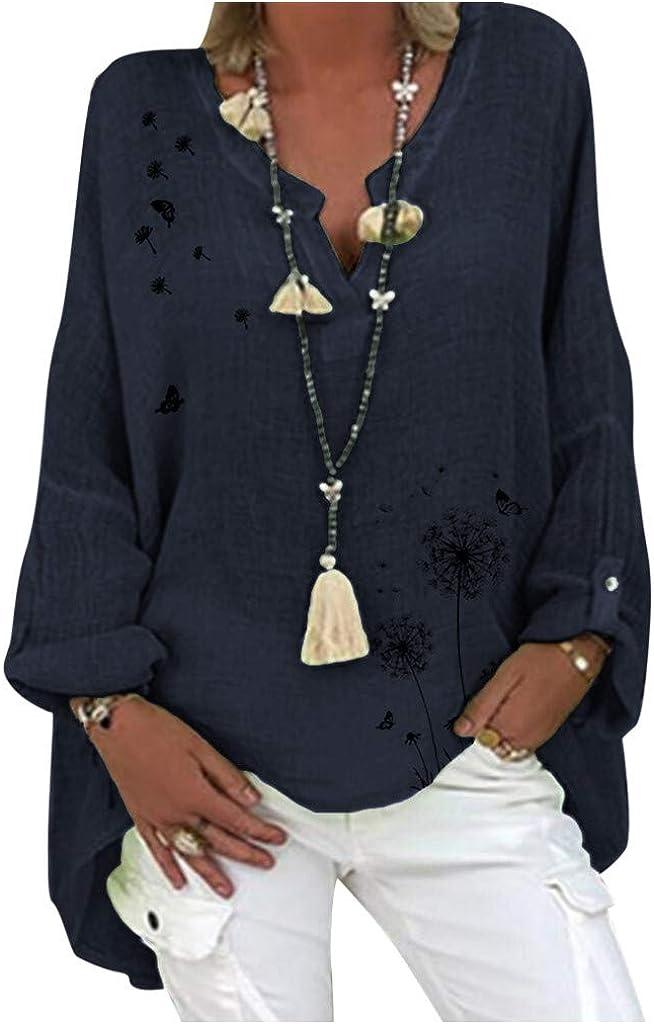 YAnGSale Cotton Linen Casual Tops Blouses for Women Plus Size T-Shirts Long Sleeve Sweatshirts Floral Print Loose Shirt V-Neck Pullover