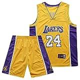 Conjunto de camiseta de baloncesto para hombre Kobe Bean Bryant # 24 de Los Angeles Lakers, adecuado para competiciones de baloncesto de deportes al aire libre y chaleco de entrenamiento diario, trans