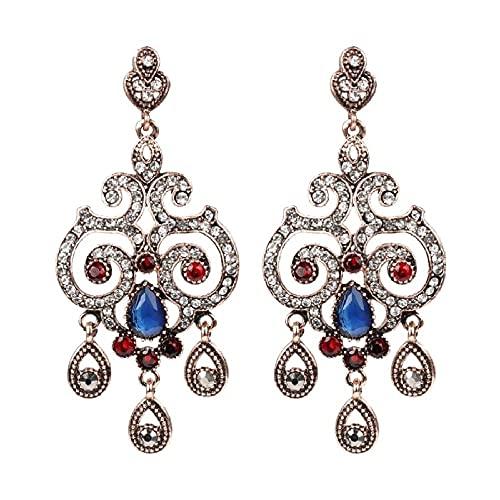 Envío Gratis Estilo Étnico Mujeres Pendientes Turcos Azules Flor De Cristal De Oro Antiguo Joyería Vintage Pendientes Al Por Mayor