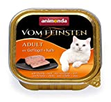 animonda Vom Feinsten Adult Katzenfutter, Nassfutter für ausgewachsene Katzen, mit Geflügel + Kalb, 32 x 100 g