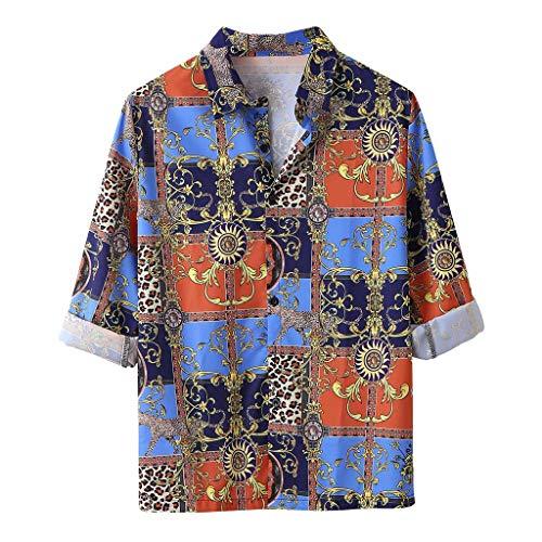 Heren Klassiek Hawaii Shirt Mode Bladeren Print Sweatshirt Lange mouwen Lapel Vrije tijd Pullover Plus Size Losse Knop Sport Blouses Casual Top Fitted Katoen Ademende T Shirts Slim Fit Tee