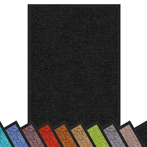 Floordirekt Felpudo antisuciedad Rhine | lavable y potente | Felpudo limpio con parte posterior antideslizante | Felpudo en muchos tamaños y colores (negro, 60 cm x 90 cm)