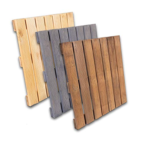 Baldosas de madera de pino impregnada · Varios juegos y colores · 50 x 50 x 3,5 cm (40, marrón claro)