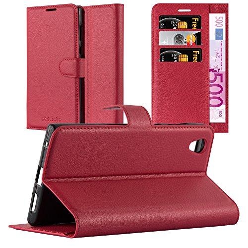 Cadorabo Hülle für Sony Xperia L1 in Karmin ROT - Handyhülle mit Magnetverschluss, Standfunktion & Kartenfach - Hülle Cover Schutzhülle Etui Tasche Book Klapp Style
