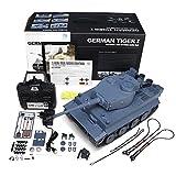 MODELTRONIC Tiger I Heng Long Tanque Radio Control 1/16 Upgrade transmisiones de Acero Nueva emisora 2.4G V6.0 batería Litio con Sonido, Bolas 6mm Airsoft y expulsa Humo Tanque teledirigido 3818-1