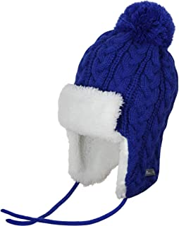 Ami&Li Infant Baby Boys Girls Kids Ultra Comfortable Knit Winter Trapper Hat with Cute Fuzzy Ball