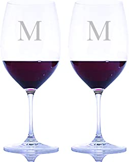 Personalized Riedel Crystal Vinum Cabernet Sauvignon/Merlot (Bordeaux) Stemmed Wine Glasses Engraved & Monogrammed - 2pc. Set - Great Housewarming or Wedding Gift - Great Holiday & Christmas Gift!
