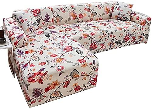 OOFAYWFD Sofa Überwürfe Sofabezug l Form Elastische, Stretch Sofaüberwurf Antirutsch 2er /Set 2 Sitzer + 3 Sitzer Sofahusse Sofa Bezug für L-Form Sofa Abdeckung 。 (Color : E, Size : 4seats+4 Seats)