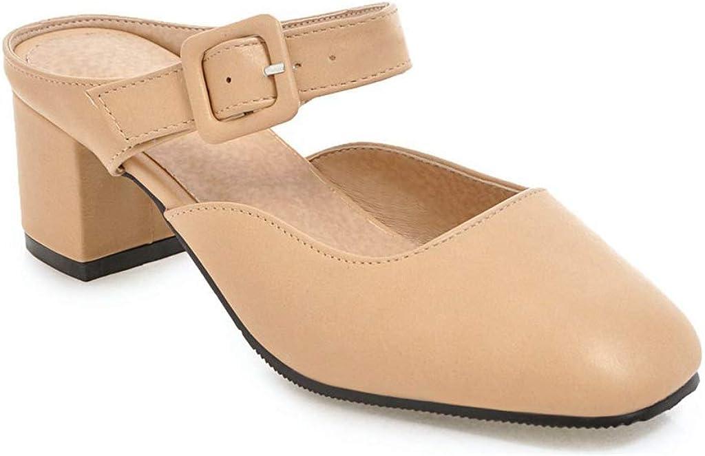 MIOKE Women's Slip On Block Low Heel Mules Shoes Square Toe Buckle Backless Comfy Dress Pump Slide Sandal