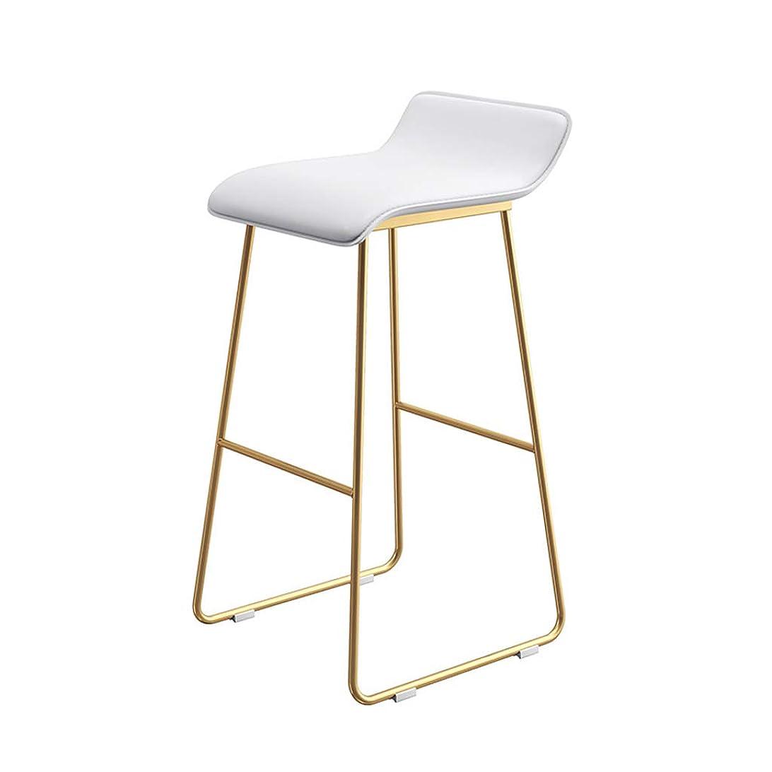 休憩不公平陪審HUA BEI アイロンバースツール、現代のバーチェア、PUレザーチェアと鍛造アイアン足場、カウンター、キッチン朝食バー、5色、65cm / 70cm / 75cmに適して | (色 : White+gold, サイズ さいず : Sitting height65cm)