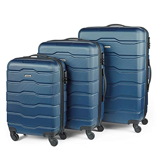 VonHaus 3pc Navy ABS Luggage Set - Hard Shell Trolley Suitcase/Cabin Bag - Built-in Combination Lock - 360° Silent Spinner Wheels