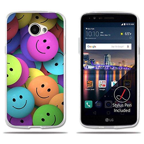 fubaoda LG K5/Q6/X220ds Hülle, [Gruppe der lächelnden Gesichter] e Silikon Clear TPU Creative 3D Chic Ganzkörper Schutzmaßnahmen Matte Gummi Silikon Abdeckung Telefon Fall Schutz für LG K5/Q6/X220ds