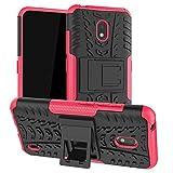 LiuShan Kompatibel mit Nokia 2.2 Hülle, Dual Layer Hybrid Handyhülle Drop Resistance Handys Schutz Hülle mit Ständer für Nokia 2.2 (2019) Smartphone(mit 4in1 Geschenk verpackt),Rosa