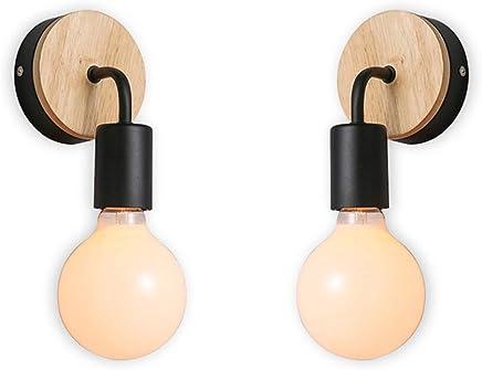 7341e54c XIHOME Paquete de 2 Minimalista Decoración de madera Pared negra Encendido  arriba/abajo Lámpara decorativa