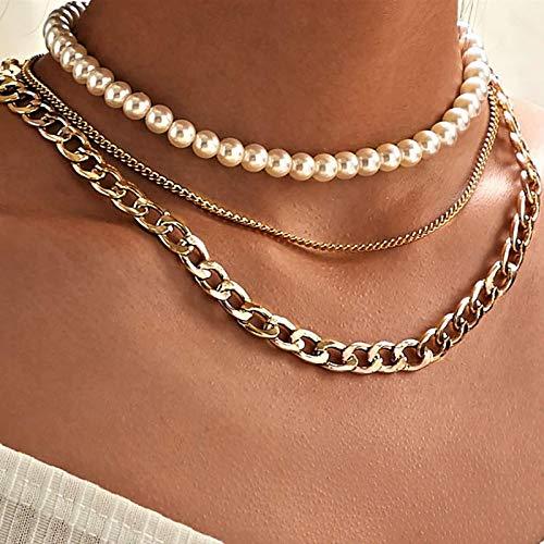 Collar Gargantilla con Nudo De Lazo De Flor De Perla Delicada, Cadena Larga, Corazón De Perlas, Colgante De Moneda De Oro, Collares para Mujer, Joyerí
