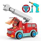 SGILE Camion dei Pompieri RC, 2.4 GHz Smonta Auto Smontabile per Bambini con 3 Suoni, Luci, Trapano Elettrico e Chiave Inglese, Auto Giocattolo da Costruzione, Regalo per Bambini Piccoli