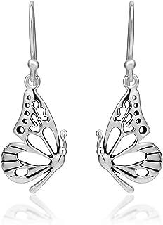"""Women's 925 Sterling Silver Butterfly Wing Dangle Hook Earrings, 0.78"""" x 1.29"""""""