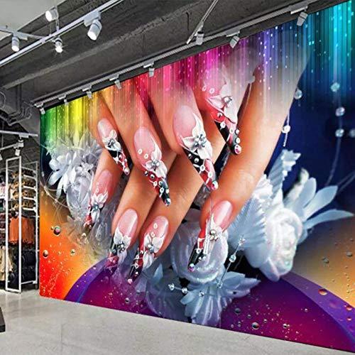 WWMJBH Behang zelfklevend 3D nagel make-up nagellak behang fotobehang 3D fotobehang kinderen jongen meisjes slaapkamer muur kunst woonkamer tv achtergrond behang decoratie 350x256 cm (BxH) 7 Streifen - selbstklebend