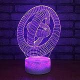 Luces nocturnas 3D para niños , Arte abstracto tricíclico Luz de noche LED 7...