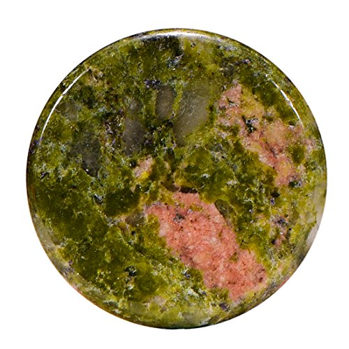 Morella Mujeres Small Coin Moneda Colgante Amuleto 23 mm Piedra Preciosa Gema Unakit Plato Chakra Colgante de Collar y para Fortalecer