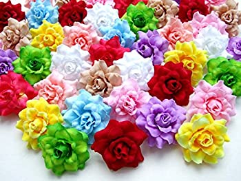 ICRAFY  50  Assorted Roses Silk Flower Head Size 1.75  Artificial Flowers Heads Fabric Floral Supplies Wholesale Wedding Accessories Make Bridal Hair Clips Headbands