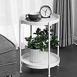 Vassoio in metallo per tavolo laterale, vassoio rimovibile, per bevande all'aperto e al coperto, tavolino da caffè (bianco (2 piatti))