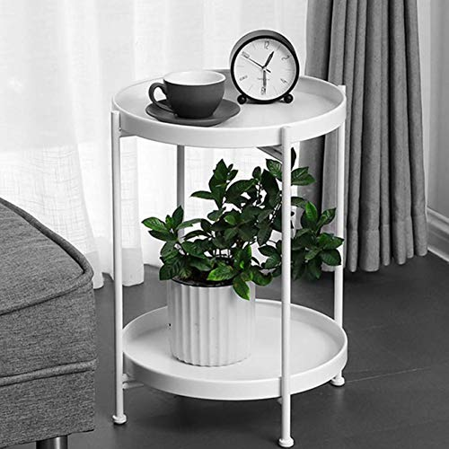 Tray Metal End Table Side Table Round Tray Removable Tray Outdoor & Indoor Drink Snack Coffee Table Telephone Table tray bedside table (White(2 plates))