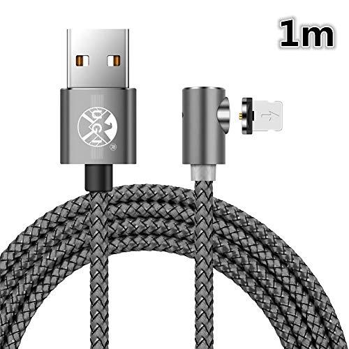 UGI L Forma Girar el Cable de Cargador magnético Trenzado Redondo para iPhone 5 5C 5S SE 6 6s 7 8 Plus X, iPad. (Solo Cargando)