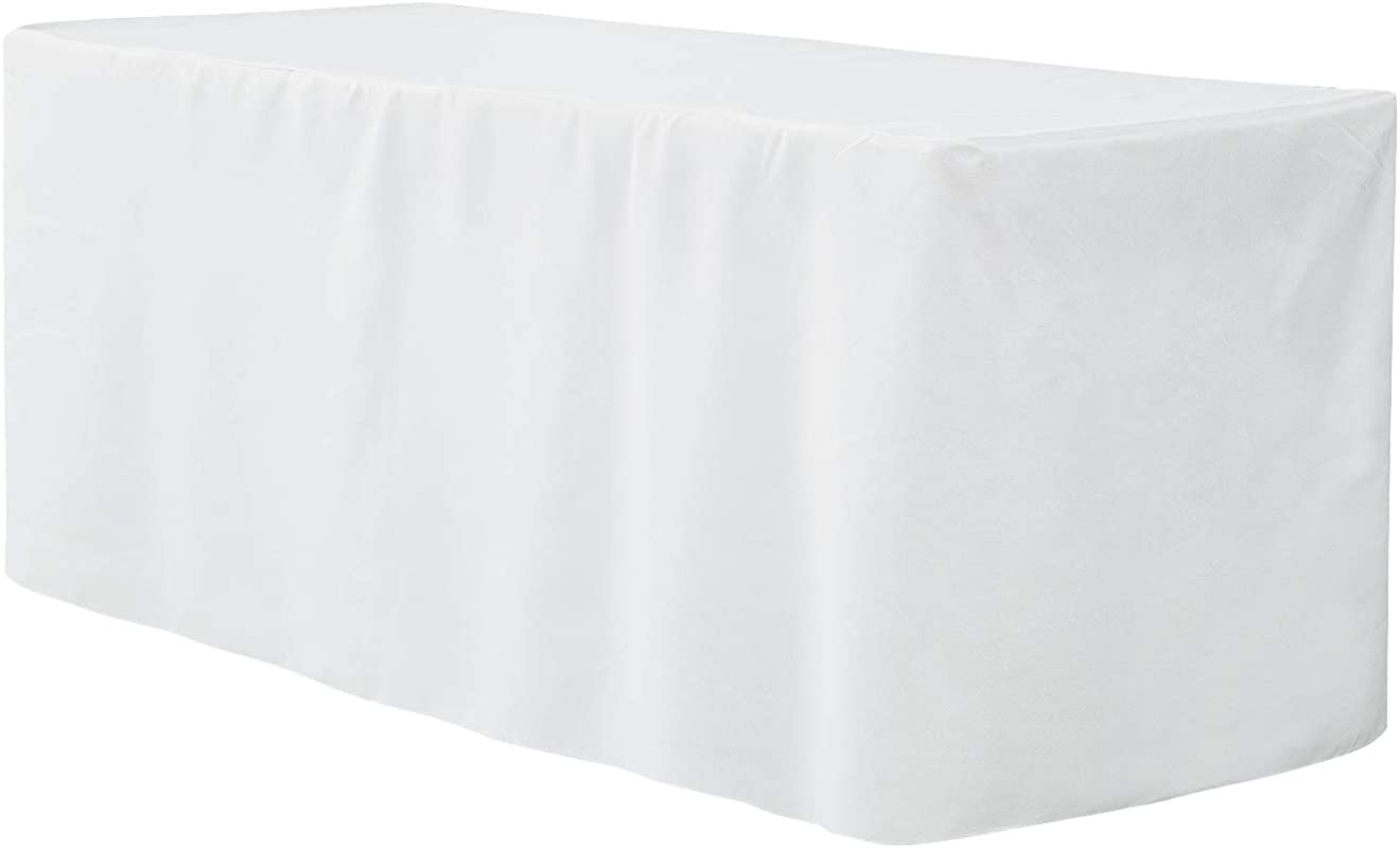 Deconovo 6 Ft Fitted Table Cover Tablecloth For Wedding Trade Show Party White 73x30x30 Inch 1 Piece