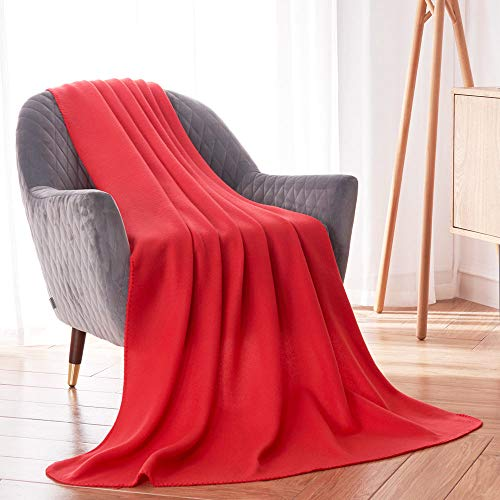 Fleece Blanket Super Soft Cozy Warm Red Throw Blanket Microfleece Blanket for Bed, Sofa or Chair, All Season Use, Easy Care (Red, 52x67 Inches)