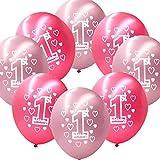 Kicode Couleur Rouge Rose 10 Pcs 1ère Fille Bon Anniversaire Bébé garçon Ballons en Latex imprimés Fête sucrée