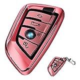 Funda de Silicona para Llave BMW – Cover Carcasa de TPU Cromo Suave para Keyless BMW Serie 1 3 5 7 X1 X3 X4 X5 F30 E30 Protección Llaveros Protección Total para Llave de Coche Mando de Auto