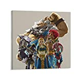 The Legend of Zelda Breath of The Wild Armor Daruk Mipha Revali Urbosa Poster Decorative Painting Canvas Wall Art Living Room Posters Bedroom Painting 28x28inch(70x70cm)