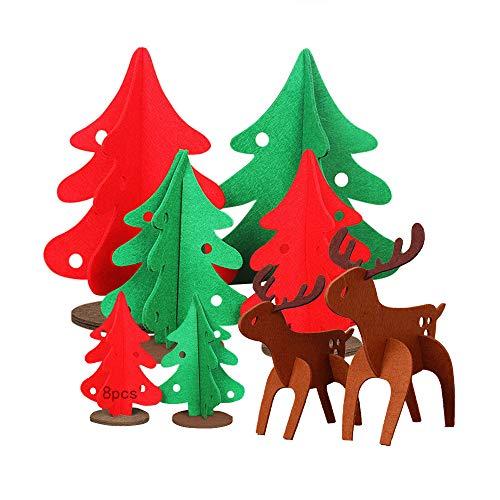 Anyingkai 8pcs DIY Filz Weihnachtsbaum Set,DIY Filzbaum,DIY Weihnachtsbaum Dekoration,Filz Weihnachtsbaum 3D,Basteln und Dekorieren,Filz Weihnachtsbaum Set für Home