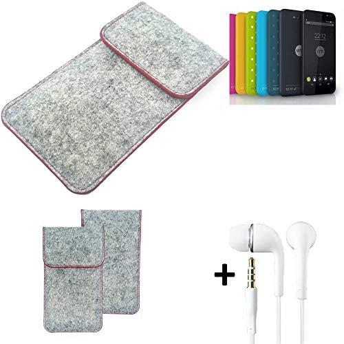 K-S-Trade® Handy Schutz Hülle Für Shift Shift4.2 Schutzhülle Handyhülle Filztasche Pouch Tasche Case Sleeve Filzhülle Hellgrau Roter Rand + Kopfhörer