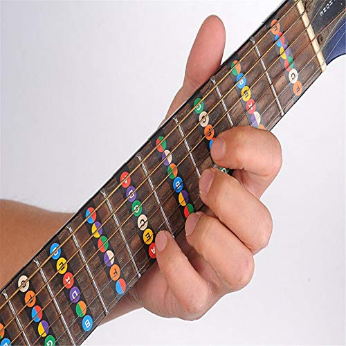 Airlove 1 PC Guitar Fretboard Notes Map Labels Frets Sticker Decals For Beginner Learn Fit 6 Strings Acoustic Guitar