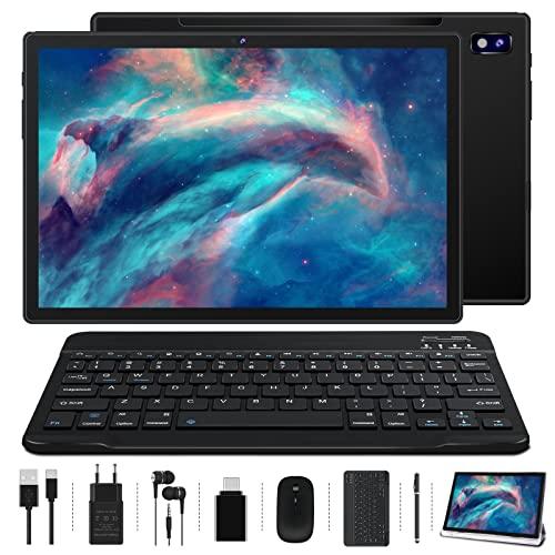 Tablet 10.1 Pollici Oangcc Android 11 Certificato da Google GMS Tablets,4 GB di RAM e 64 GB(TF 128GB),8 Core,8000mAh Batteria | Bluetooth 4.1 | Type C | WIFI Versione—Mouse | Tastiera e Altro-Nero